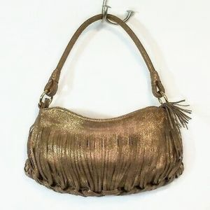 Sondra Roberts Leather Woven Braided Fringed Hobo Bag
